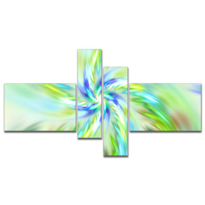 Designart Dance Of Bright Spiral Green Flower Multipanel Floral Canvas Art Print - 4 Panels