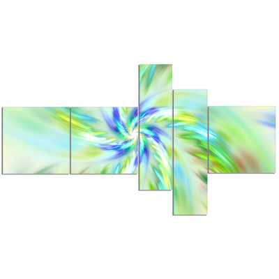 Designart Dance Of Bright Spiral Green Flower Multipanel Floral Canvas Art Print - 5 Panels