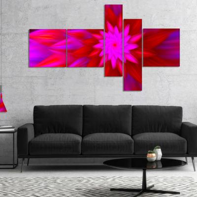 Designart Dance Of Bright Spiral Pink Flower Multipanel Floral Canvas Art Print - 5 Panels