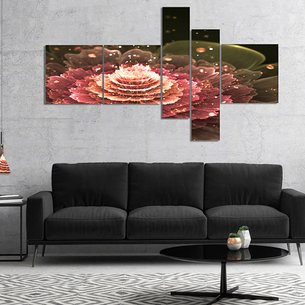Designart Fractal Abstract Pink Flower MultiplanelFloral Art Canvas Print - 4 Panels