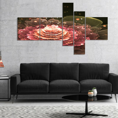 Designart Fractal Abstract Pink Flower MultiplanelFloral Art Canvas Print - 5 Panels