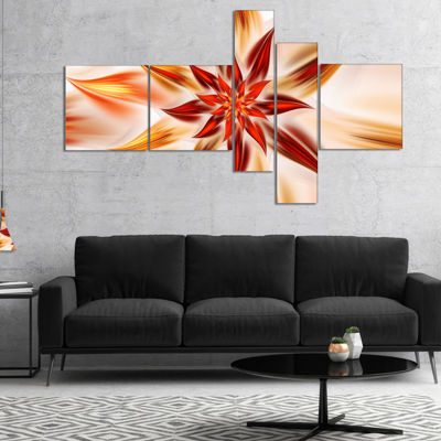Designart Dance Of Brown Exotic Flower MultiplanelFloral Canvas Art Print - 5 Panels