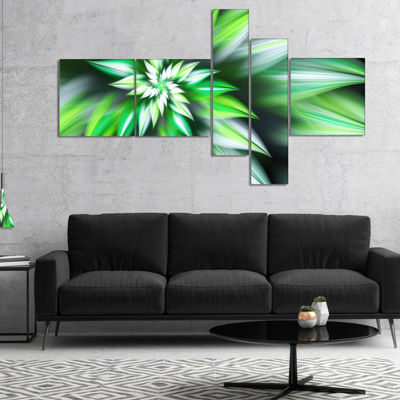 Designart Dance Of Green Exotic Flower MultiplanelFloral Canvas Art Print - 4 Panels