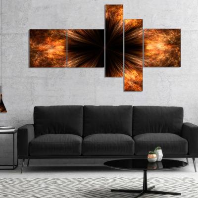 Designart Fractal Black Brown Flower Multipanel Floral Canvas Art Print - 4 Panels