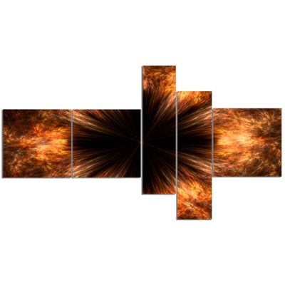 Designart Fractal Black Brown Flower Multipanel Floral Canvas Art Print - 5 Panels