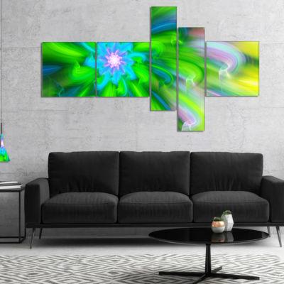Designart Dance Of Green Flower Petals MultiplanelFloral Canvas Art Print - 5 Panels