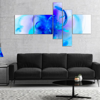 Designart Fractal Blue 3D Art Multipanel Floral Art Canvas Print - 4 Panels