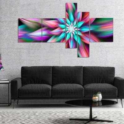 Designart Dance Of Multi Color Exotic Flower Multipanel Floral Canvas Art Print - 5 Panels
