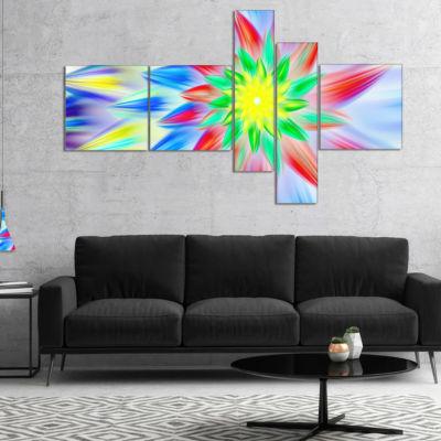 Designart Dance Of Multi Color Petals MultiplanelFloral Canvas Art Print - 5 Panels