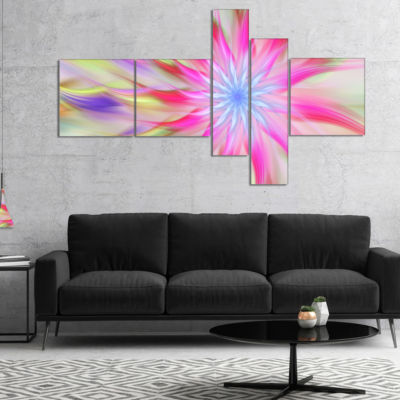 Designart Dance Of Pink Exotic Flower MultiplanelFloral Canvas Art Print - 4 Panels