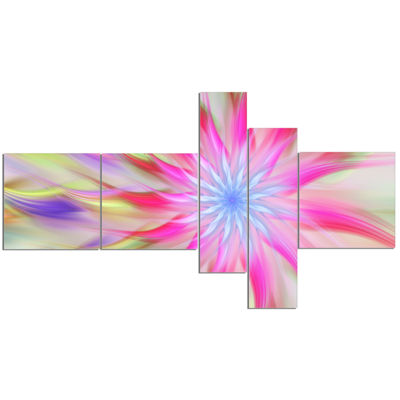 Designart Dance Of Pink Exotic Flower MultiplanelFloral Canvas Art Print - 5 Panels