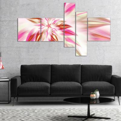 Designart Dance Of Red Exotic Flower Multipanel Floral Canvas Art Print - 5 Panels