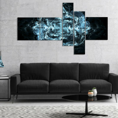 Designart Fractal Blue Flower Explosion MultipanelFloral Art Canvas Print - 4 Panels