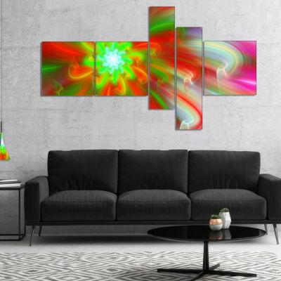 Designart Dance Of Red Fractal Flower Petals Multipanel Floral Canvas Art Print - 5 Panels