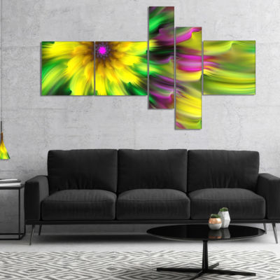 Designart Dance Of Yellow Exotic Flower Multiplanel Floral Canvas Art Print - 4 Panels