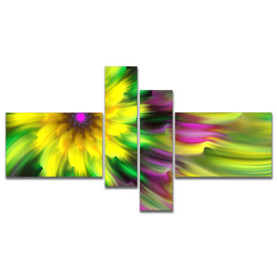 Designart Dance Of Yellow Exotic Flower MultipanelFloral Canvas Art Print - 4 Panels