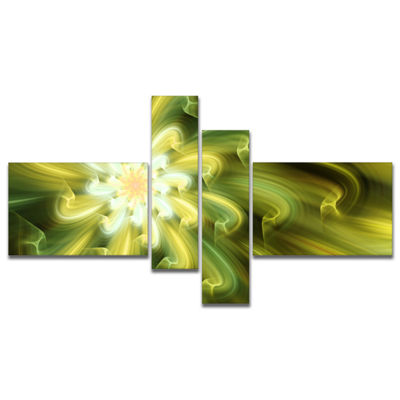 Designart Dance Of Yellow Fractal Petals Multipanel Floral Canvas Art Print - 4 Panels