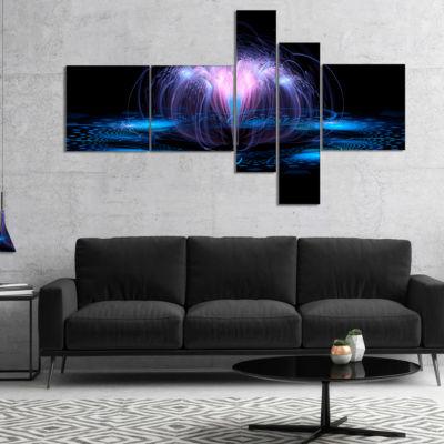Designart Fractal Blue Flowing Flower MultiplanelFloral Art Canvas Print - 5 Panels
