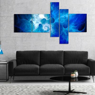 Designart Fractal Blue Smoke Multipanel Floral ArtCanvas Print - 4 Panels