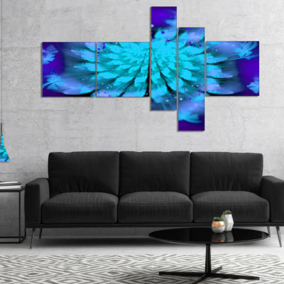 Designart Fractal Blue Spread Out Flower Multipanel Floral Art Canvas Print - 4 Panels