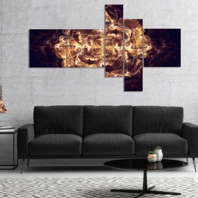 Designart Fractal Brown Flower Explosion Multipanel Floral Art Canvas Print - 5 Panels
