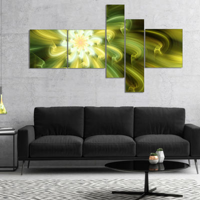Designart Dance Of Yellow Fractal Petals Multipanel Floral Canvas Art Print - 5 Panels
