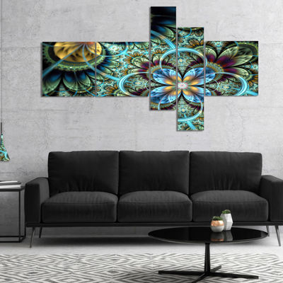 Designart Fractal Dark Orange Blue Flowers Multipanel Floral Art Canvas Print - 4 Panels