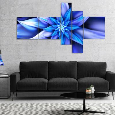 Designart Dancing Blue Flower Petals Multipanel Floral Canvas Art Print - 5 Panels