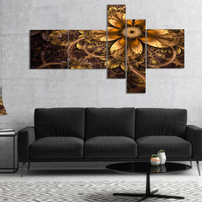 Designart Fractal Dark Yellow Flower Multipanel Floral Art Canvas Print - 5 Panels