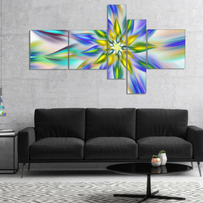 Designart Dancing Blue Fractal Flower MultiplanelFloral Canvas Art Print - 5 Panels