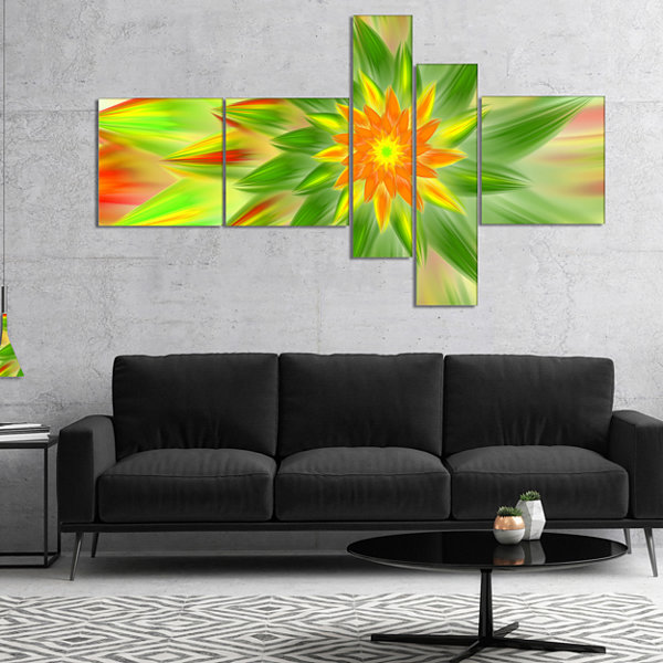 Designart Dancing Green Fractal Flower MultiplanelFloral Canvas Art Print - 5 Panels