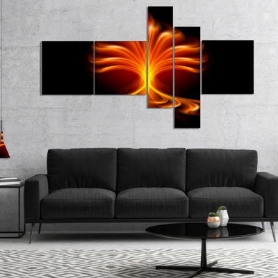Designart Fractal Fire Flower Multipanel Floral Art Canvas Print - 5 Panels