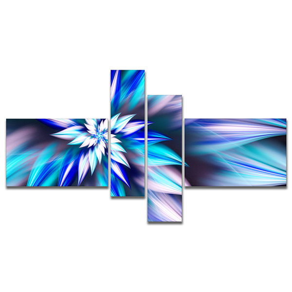 Designart Dancing Light Blue Flower Petals Multipanel Floral Canvas Art Print - 4 Panels