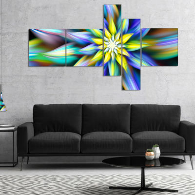 Designart Dancing Multi Color Flower Petals Multipanel Floral Canvas Art Print - 4 Panels