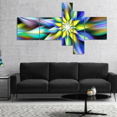 Designart Dancing Multi Color Flower Petals Multipanel Floral Canvas Art Print - 5 Panels