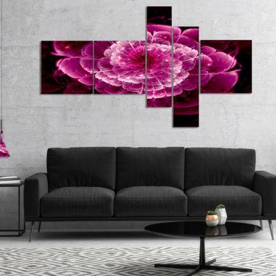 Designart Fractal Flower Dark Pink Multipanel Floral Art Canvas Print - 5 Panels