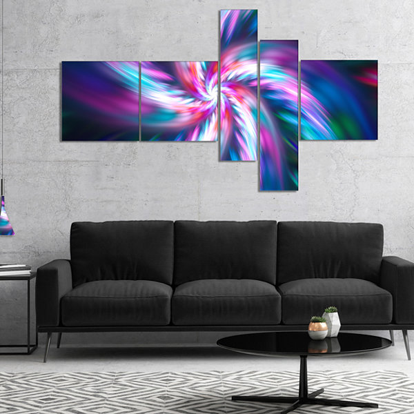 Designart Dancing Multi Color Fractal Flower Multipanel Floral Canvas Art Print - 4 Panels