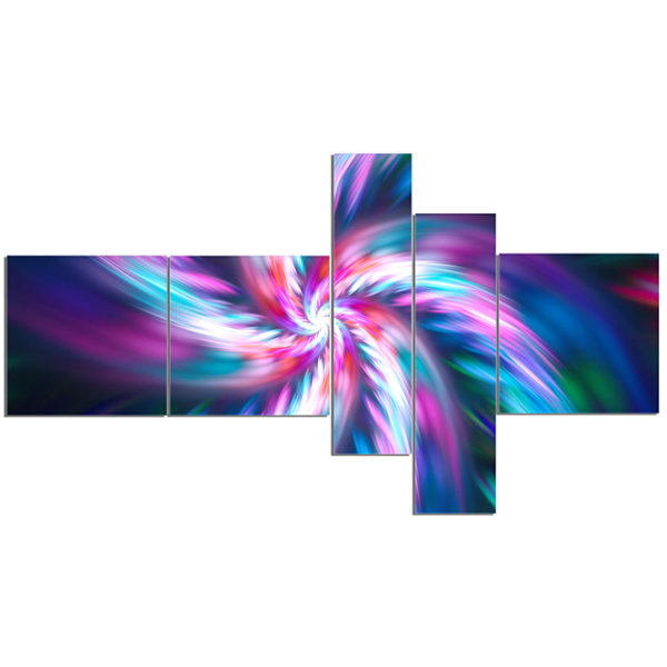 Designart Dancing Multi Color Fractal Flower Multipanel Floral Canvas Art Print - 5 Panels