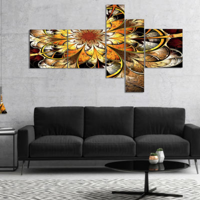 Designart Fractal Flower Dark Yellow Multipanel Floral Art Canvas Print - 5 Panels