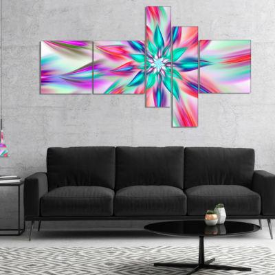 Designart Dancing Pink Flower Petals Multipanel Floral Canvas Art Print - 5 Panels