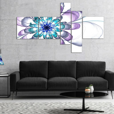 Designart Fractal Flower Light Blue Multipanel Floral Art Canvas Print - 4 Panels