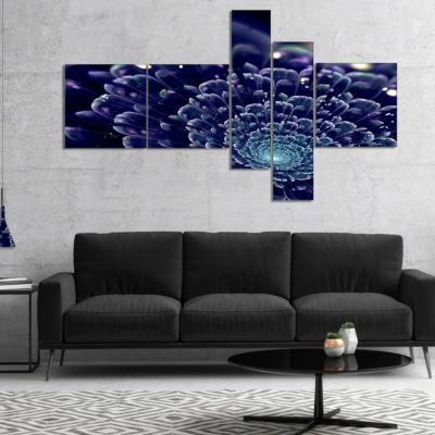 Designart Dark Blue Abstract Fractal Flower Multipanel Floral Canvas Art Print - 4 Panels