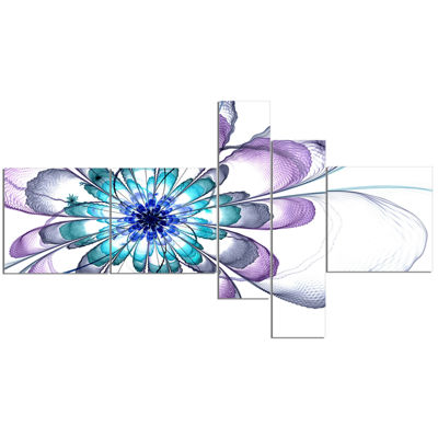 Designart Fractal Flower Light Blue Multipanel Floral Art Canvas Print - 5 Panels