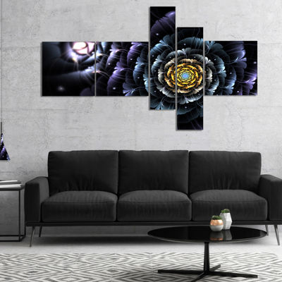 Designart Dark Blue Fractal Flower In Dark Multipanel Floral Canvas Art Print - 5 Panels