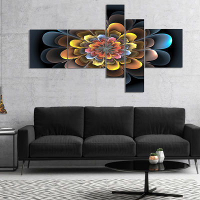 Designart Fractal Flower Macro Close Up Multiplanel Floral Art Canvas Print - 4 Panels