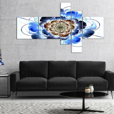 Designart Dark Blue Fractal Flower Multipanel Floral Art Canvas Print - 5 Panels