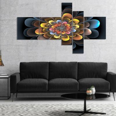 Designart Fractal Flower Macro Close Up MultipanelFloral Art Canvas Print - 5 Panels