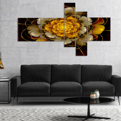 Designart Dark Gold Fractal Flower Multipanel Abstract Print On Canvas - 4 Panels