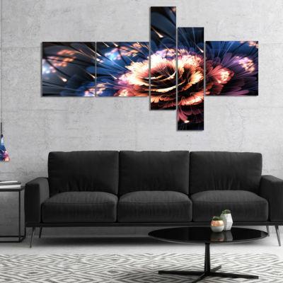 Designart Fractal Flower Orange And Blue Multipanel Large Floral Art Canvas Print - 4 Panels