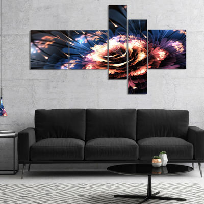 Designart Fractal Flower Orange And Blue Multipanel Large Floral Art Canvas Print - 5 Panels